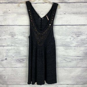 Free People Black Knitted Dress Med Sleeveless